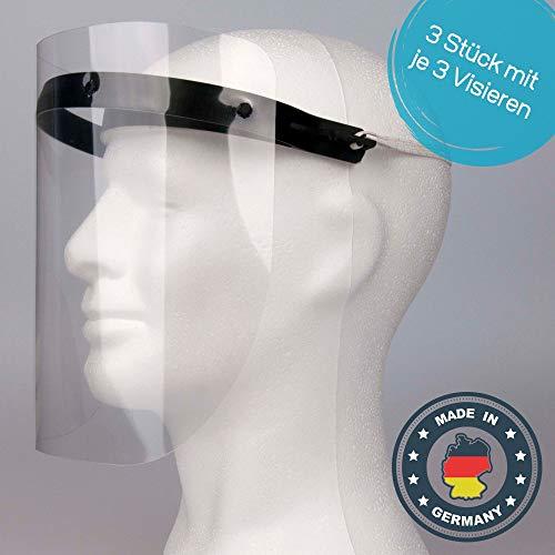 Gesichtsschutz aus Kunststoff - 3 x Halterungen mit je 3 Wechselfolien - Gesichtsschutzmaske Gesichtsvisier - Prime