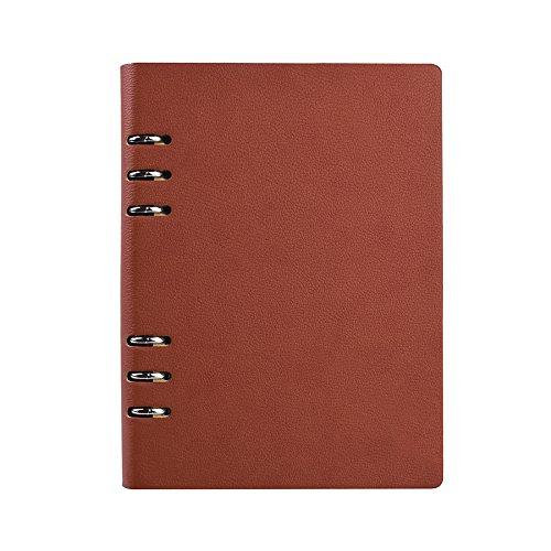 Jia Hu A6 - Archivador de cuero con anillas (150 páginas), color marrón