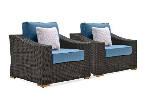 La-Z-Boy Outdoor ANWBC7-2PK Patio Lounge Chair, 2 Pack, Denim Blue