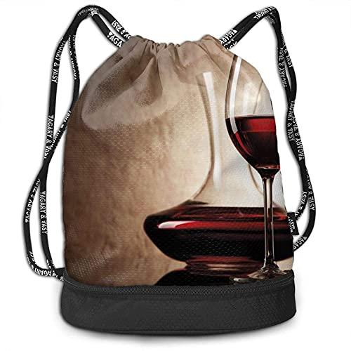 Bokueay Mochila con cordón, estampado de vino tinto, deporte, viaje, gimnasio, paquete, mochila, bolso