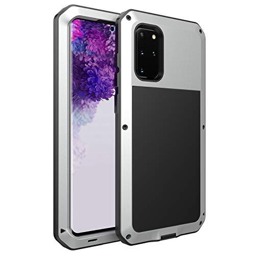 Funda para Samsung Galaxy S20 Plus, [Antigolpes] Carcasa Resistente Reforzada Metálica Grado Militar Anti-rasguño Cover para Galaxy S20 Plus,Silver