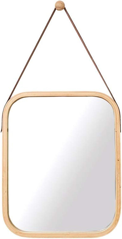 GAIXIA Genuine Cork Decorative Wall Mirror PU Round Square Mirror Four Styles Wall Mirror (Size   A)