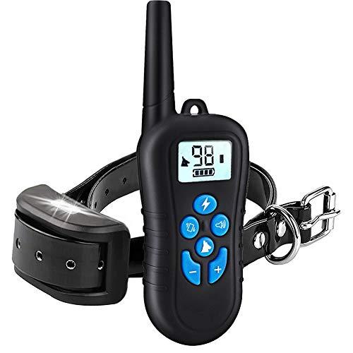 d'Stil Collier de Dressage pour Chien Anti-aboiement IP67 Étanche Portée Télécommande 500 Mètres Rechargeable avec Mode Vibration, Sonore et Choc Electrique (Noir-Bleu)
