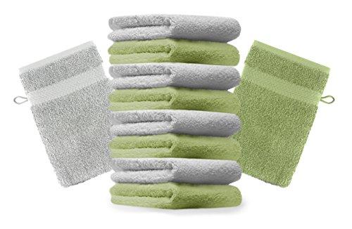Betz Lot de 10 Gants de Toilette Taille 16x21 cm 100% Coton Premium Couleur Vert Pomme, Gris argenté