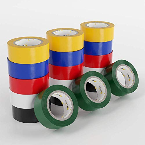 HEITECH PVC Isolierbänder 18er Pack - Isolierband 19 mm x 5 m in 6 verschiedenen Farben - 18 Rollen Elektro Isolierband - Isoband Elektriker Klebeband - Dichtungsband