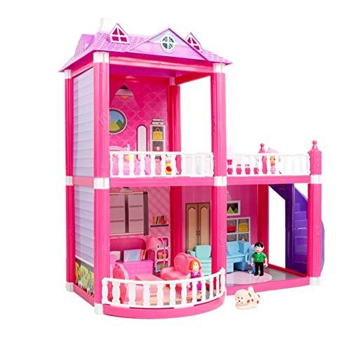 LiChaoWen DIY MUÑO CASA Toys Rosa DE EMPIBLE Princess Villa Muebles Miniatura Muebles MINUTURES Muebles DE Muebles para NIÑOS Regalo Casas de muñecas (Color : Pink, Size : 45×23×43 cm)