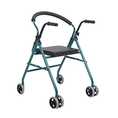 LXDDJZXQ Andador para Ancianos Walker, Ligero, Plegable, Ajustable, for Caminar, asistido, médico, Mayor Walker, Asiento de Rueda Walker, polea de Acero al Carbono