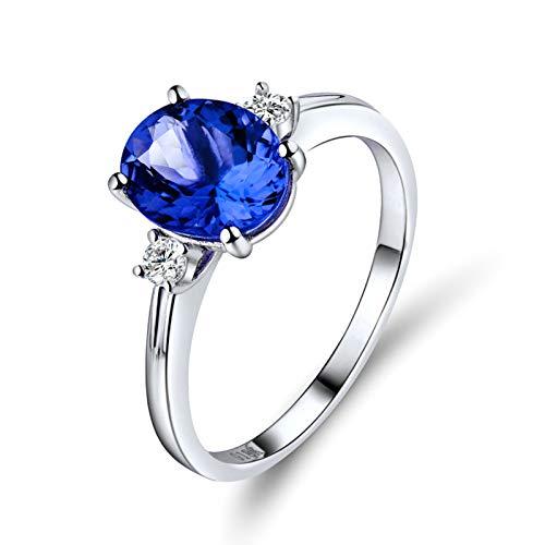 AnazoZ Anillo de Tanzanita Mujer,Anillo Oro Blanco 18K Mujer Plata Azul Oval Tanzanita Azul 2.21ct Diamante 0.14ct Talla 25