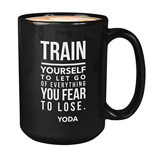 Taza de café verde del espacio exterior taza de cerámica | Chewbacca D4rth V4der You Da Skywalker Han Solo George Lucas | Cotización única (11 oz, negro) O84U4U
