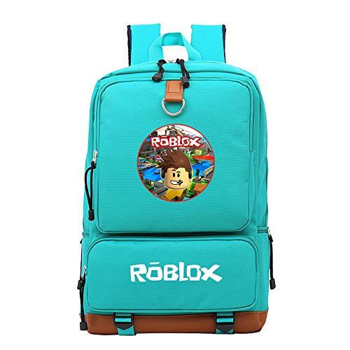 NINIUBAL Unisex Roblox Mochila para Ordenador Portátil Paquete de Asalto al Aire Libre Deporte 3D Juego de impresión School Bag para Mujeres y Hombres