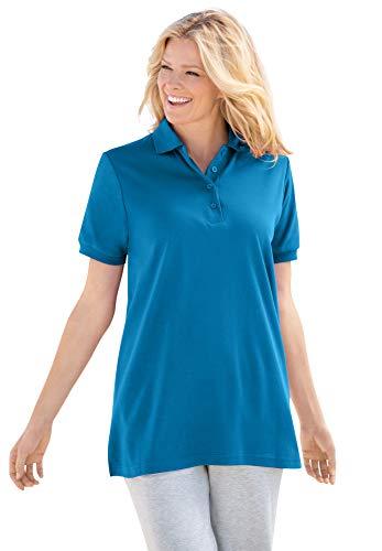 Woman Within Women's Plus Size Elbow-Sleeve Polo Shirt - 4X, Vibrant Blue