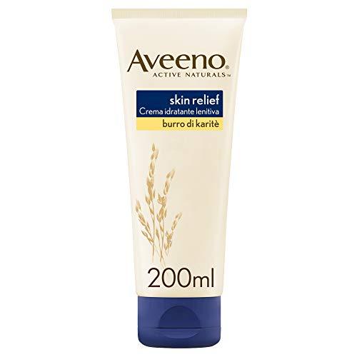 Aveeno Crema Corpo Idratante, Skin Relief, Burro di Karité, per la Pelle Molto Secca, 200 ml