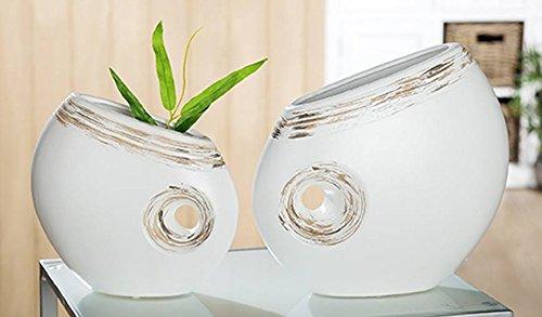 Gilde Céramique Ovale Trou Vase Linea Lot de 2 Mat Blanc crème Marron l = 10 x B = 28 x H = 27 cm