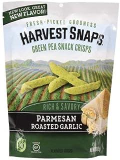 Calbee Harvest Snaps Parmesan Roasted Garlic Green Pea Snack Crisps, 3 oz, pack of 1
