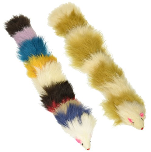 Iconic Pet Set of 2 Fur Weasel Toy(One Brown/White, One Multicolored) with Squeaker for Pets, Best Pet Play Toy for Dogs and Cats, Fun Cat Toys, Dog Toys to Beat Boredom and Satisfy Hunting Instincts
