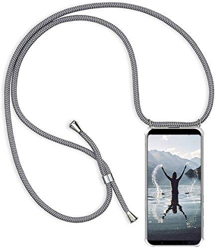 Handykette Handyhülle für Oppo Find X3 Neo mit Band - Handy-Kette Handy Hülle mit Kordel zum Umhängen Handyanhänger Halsband Lanyard Hülle-Grau