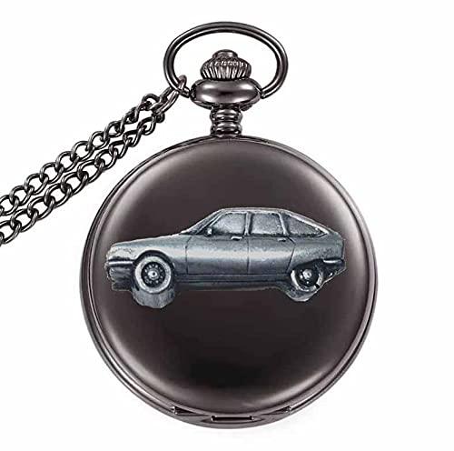 Clásico coche francés GS ref48 diseño de efecto peltre en una caja negra pulida para hombre regalo de cuarzo reloj de bolsillo