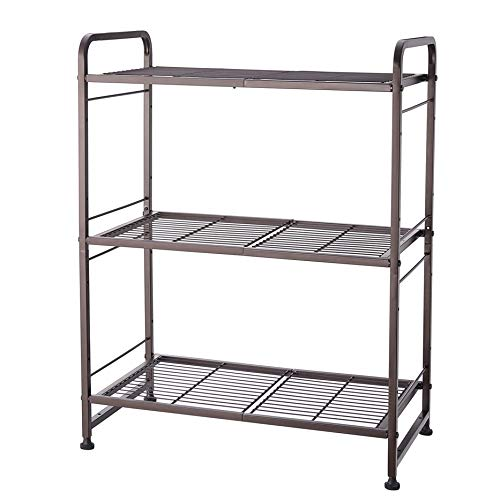 Simple Trending 3-Tier Stackable Wire Shelving Unit Storage Rack, Expandable & Adjustable Kitchen Storage Cabinet Shelf Organizer, Bronze