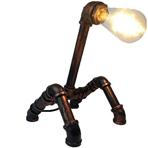 Wotbxchbbtde Una tubería de hierro Tubos creativo agua de mesa, luces de bronce retro luz de tuberías de agua, tuberías industriales del hierro del arte retro del agua de mesa de la lámpara, luz del e