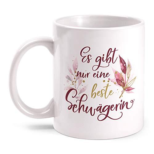 Fashionalarm Tasse Es gibt nur eine Beste Schwägerin - Dich - beidseitig Bedruckt mit Spruch | Geburtstag Geschenk-Idee Geschwister Hochzeit, Weiß 330 ml