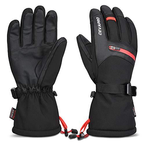Yobenki Skihandschuhe Winter Handschuhe Warm 3M Thinsulate Snowboard Handschuhe Winterhandschuhe Herren Anti Rutsch Fahrradhandschuhe mit Touchscreen für Skifahren Outdoor -34℃/-30℉