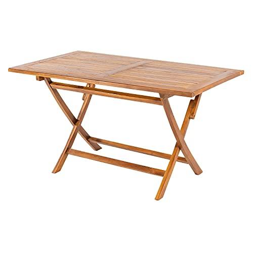 Mesa para jardín Teca Rectangular 140 cm, Madera Teca Grado A, Tamaño: 140x80x77 cm, Tratamiento al Agua aplicado