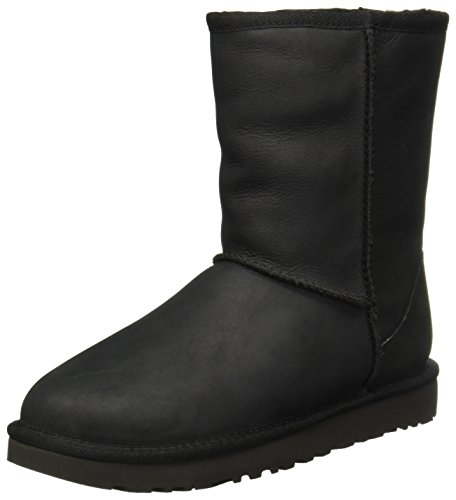 UGG Female Classic Short Leather Classic Boot, Black, 6 (UK),39(EU)