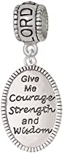 Silvertone Give Me Courage Strength Wisdom Medallion - Lord Guide Me Charm Bead