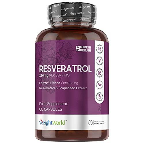 Resveratrol Kapseln 250mg Resveratrol & 20mg OPC Extrakt je Tagesdosis - 98{1684f8b54197764c08626d399b10fc5ed9a877acb77ee64a2ee76186ab2f4d4b} Resveratrol & 95{1684f8b54197764c08626d399b10fc5ed9a877acb77ee64a2ee76186ab2f4d4b} Traubenkernextrakt - 60 vegane Kapseln - Geprüft und ohne Zusatzstoffe - Von WeightWorld