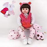 HRYEOY Muñeca Reborn 24 Pulgadas 60 cm Reborn Niña Juguetes de Silicona Suave para Niños y Niñas Cumpleaños Reborn Baby Doll