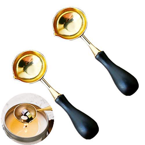 2 palillos de cera de acero inoxidable para derretir la cera derretida, sello de cera para disolver sobre (color negro)