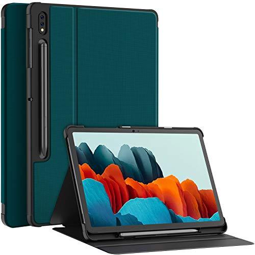 Soke Folio Hülle Kompatibel mit Samsung Galaxy Tab S7 11 2020(T870/T875), Prumium PU Rückseite Schutzhülle Magnetisches Smart Cover mit Stifthalter, Mehrfachwinkel, Auto Schlaf/Wach, Blaugrün