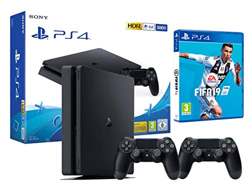 PS4 Slim 500Go Console Playstation 4 Noir + FIFA 19 + 2 Manettes Dualshock PS4 V2