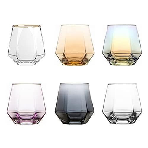 AOTEMAN Copa de cristal hexagonal transparente taza de agua para el hogar,resistente al calor,taza de beber,taza de whisky,taza de cerveza juego de