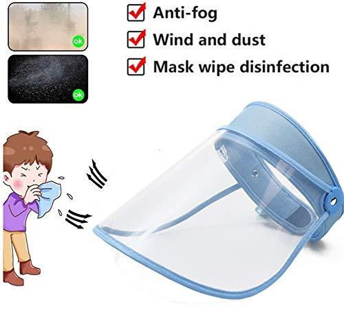 CHCH (Azul) Película de protección de la saliva facial, anti-arena, antivaho y visera ajustable sombrero