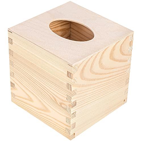Creative DECO Caja Madera Natural Pañuelos Papel Cuadrada | 13 x 13 x 13 cm | Fondo Deslizante | Dispensador de Servilletas Toallitas Faciales Cubo | Ideal para Decoupage Decoración y Almacenamiento