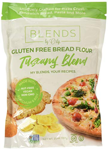 Premium Gluten Free Bread Flour - Baking Flour for Gluten Free Bread, Gluten Free Pizza Crust, Gluten Free Burger Buns, Gluten Free Pasta & Gluten Free Focaccia from Tuscany Blends by Orly 20 OZ