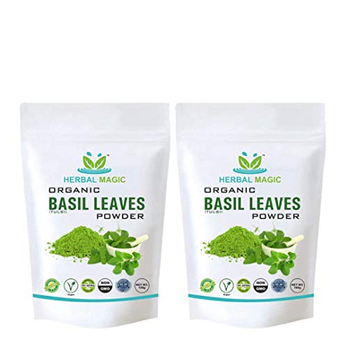 100g Organic Holy Basil Leaf / Leaves Powder (Tulsi Powder) Boosts Immunity Energy | Aromatherapy Oil Free with every bundle (Holy Basil Leaves Powder - Pack 1)
