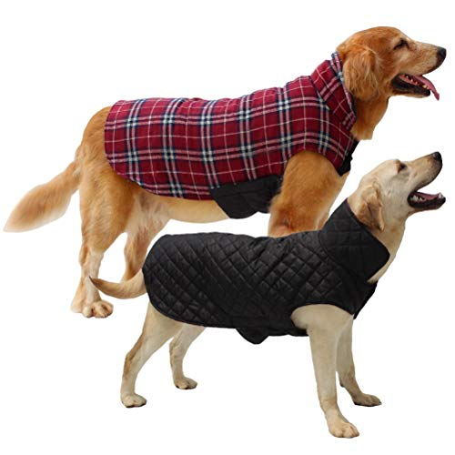 Hiado Dog Coat Clothes with Harness Hole British Style for Small Medium and Large Dogs Winter Cold Weather
