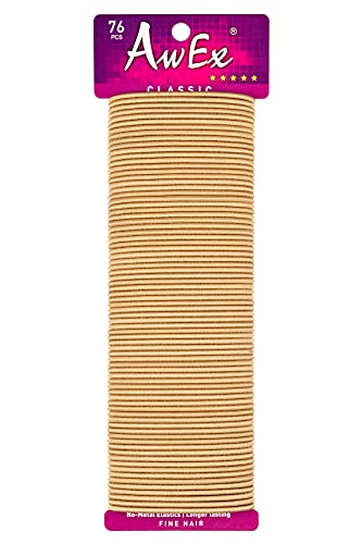 AwEx Blonde Hair Ties for THIN Hair, 76 PCS,0.09 inch (2.4 mm) in Thickness, 5.5 inches(140 mm) in Length - Hair Bands -No Metal Elastics-Ponytail Holder-Great for FINE Hair