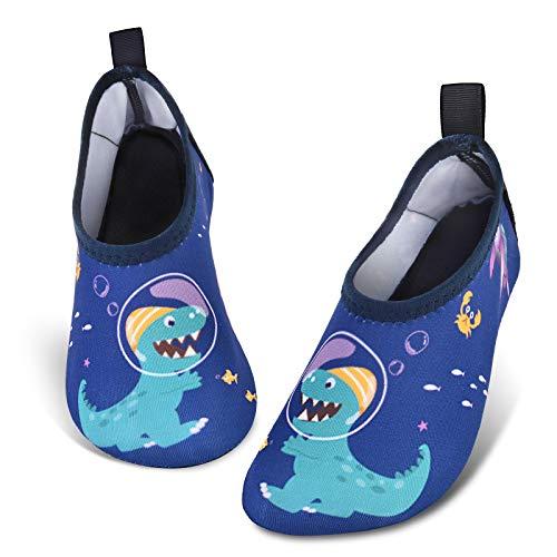 Zapatos de Agua para Bebé Niño Dinosaurio Zapatillas Acuáticas Secado Calcetine (Armada, Numeric_24)