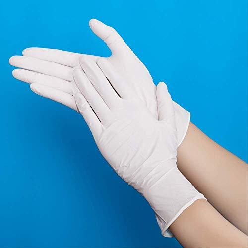 QIFENYEDENG 5 Paare, Säure und Alkali Extra Starke Einweghandschuhe aus weißem freiem Nitril , für die Linke und rechte Hand, Handschuhe in Lebensmittelqualität, l