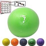 POWRX Slam Ball Balón Medicinal 7 kg - Ideal para Ejercicios de »Functional Fitness«, fortalecimiento y tonificación Muscular - Contenido de Arena y Efecto Anti-Rebote + PDF Workout (Verde Claro)