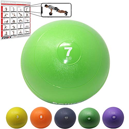 POWRX Slamball I Medizinball 3-20 kg I Slam Ball versch. Farben (7 kg/Hellgrün)