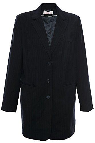 sheego Blazer Longblazer Gehrock Jacke Damen Viskose Plusgröße Übergröße, Farbe:dunkelblau;Damengrößen:44