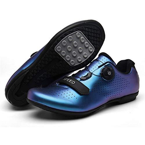 GET Zapatillas de Ciclismo SPD para Hombre y Mujer con Cierre de Trinquete, Suela de Fibra de Carbono Zapatillas de Bicicleta de Carretera con Cierre Automático y Fácil Limpieza EU 39-48