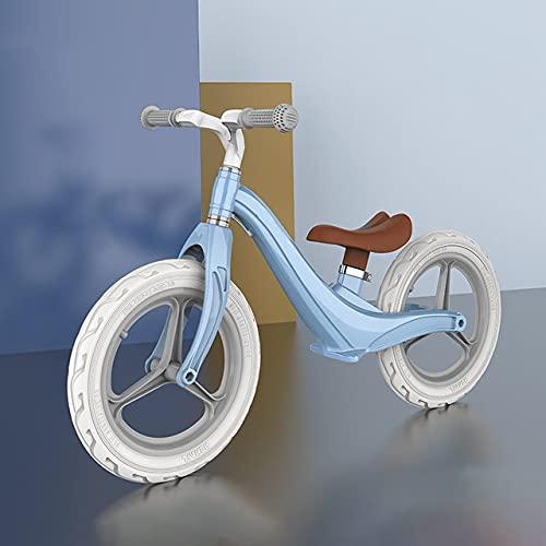 Bicicleta de Equilibrio para niños de 2 a 5 años, Bicicleta de Equilibrio de Cuerpo de aleación de 14 Pulgadas para con un cómodo sillín de Altura Ajustable, Bicicleta de Aprendizaje, máx.30 kg,Azul