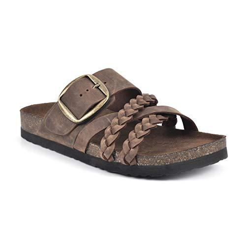 White Mountain Shoes Healing Women's Flat Sandal, Brown/Leather, 9 M