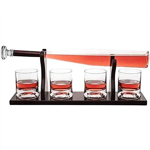WANGIRL Elegante 850ML Decantador Jarra de Whisky con 4 Vasos de Whisky Decantadores Béisbol Whisky Decanter for Scotch Coincidencia Bourbon Vino Collection Uso en Casa Restaurante Único