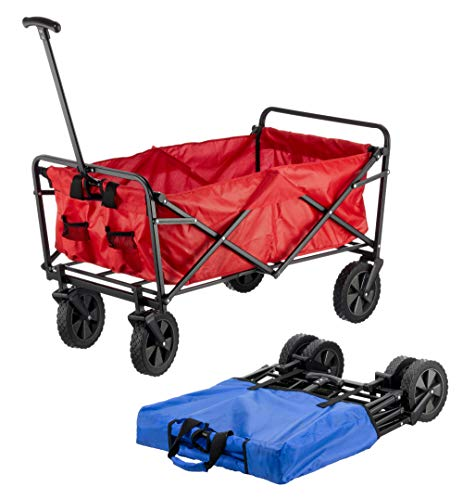 Cepewa GmbH Faltbarer Bollerwagen Handwagen Strandwagen Einkaufswagen 2Farben Transportwagen rot